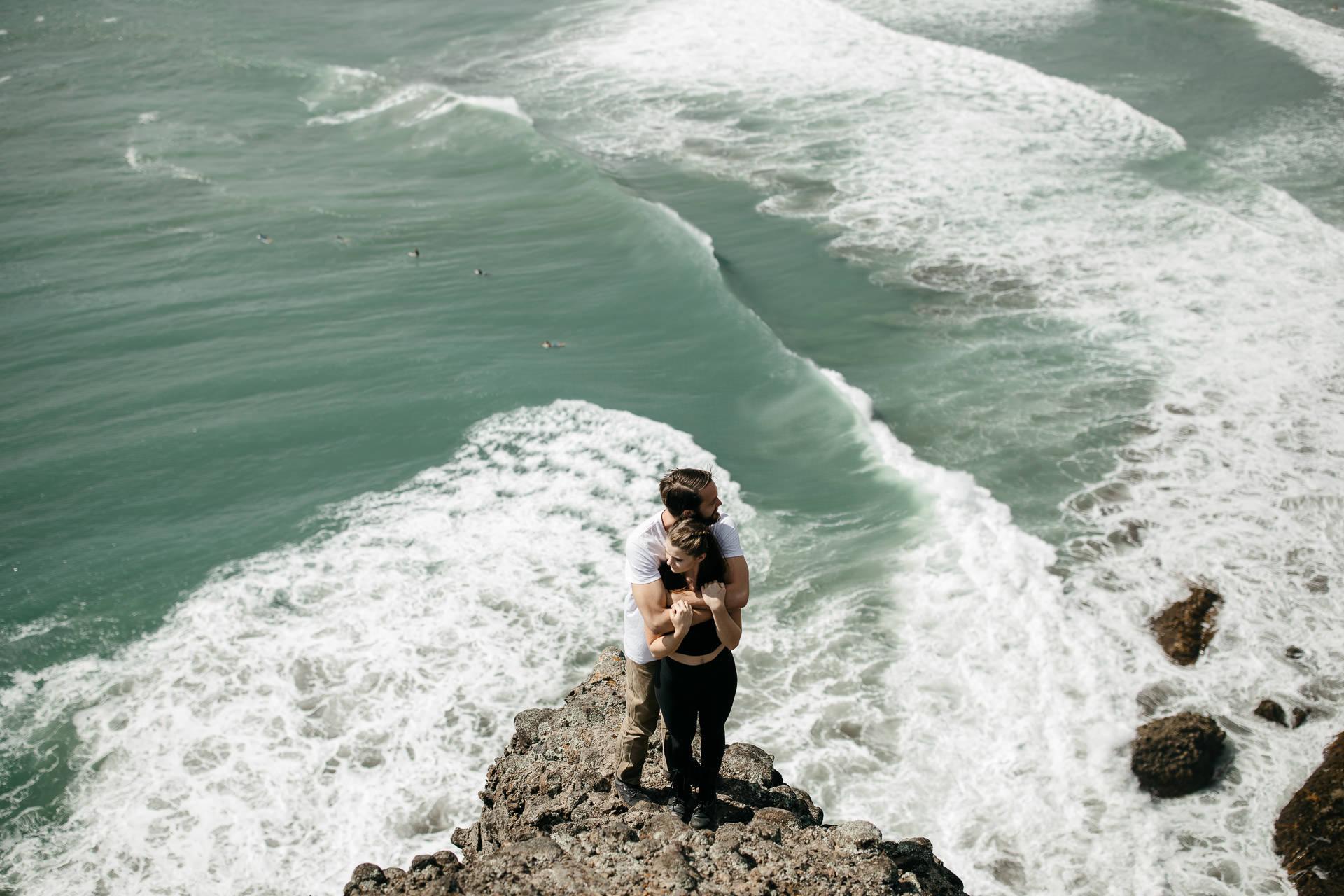 Amy & Daniel Piha Beach Engagement New Zealand by Jean-Laurent Gaudy